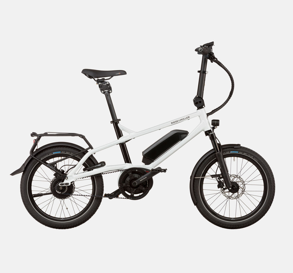 Riese & Muller Tinker Silent Vario City E-Bike with Thudbuster Seatpost in Crystal White