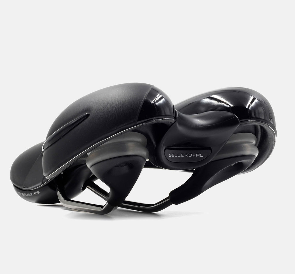 Selle Royal Respiro Moderate Saddle In Rear View Showing Comfortable Padding And Adjustable Rails