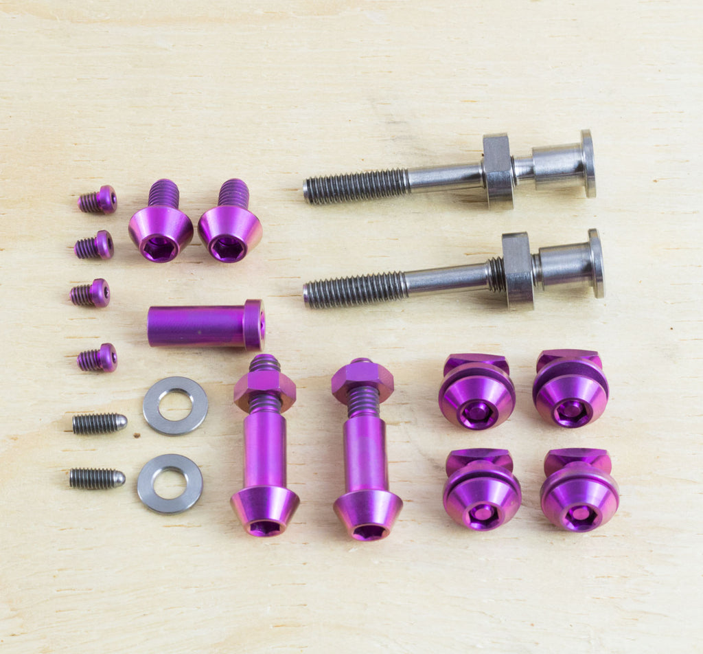 Ti Parts Workshop Titanium Brake Bolt Kit for Brompton in Purple