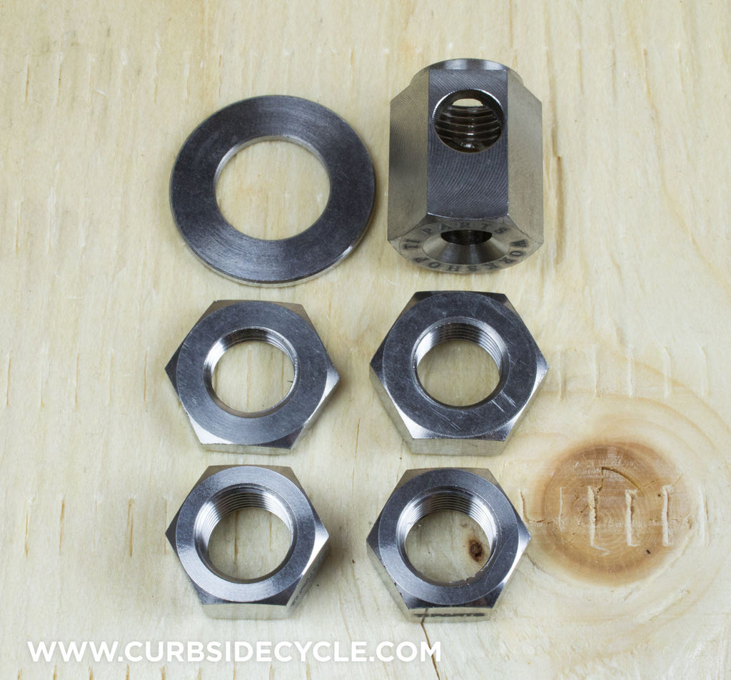 Ti Parts Workshop Complete Rear Axle Nut Kit for 3 & 6 Speed Bikes in Raw Ti