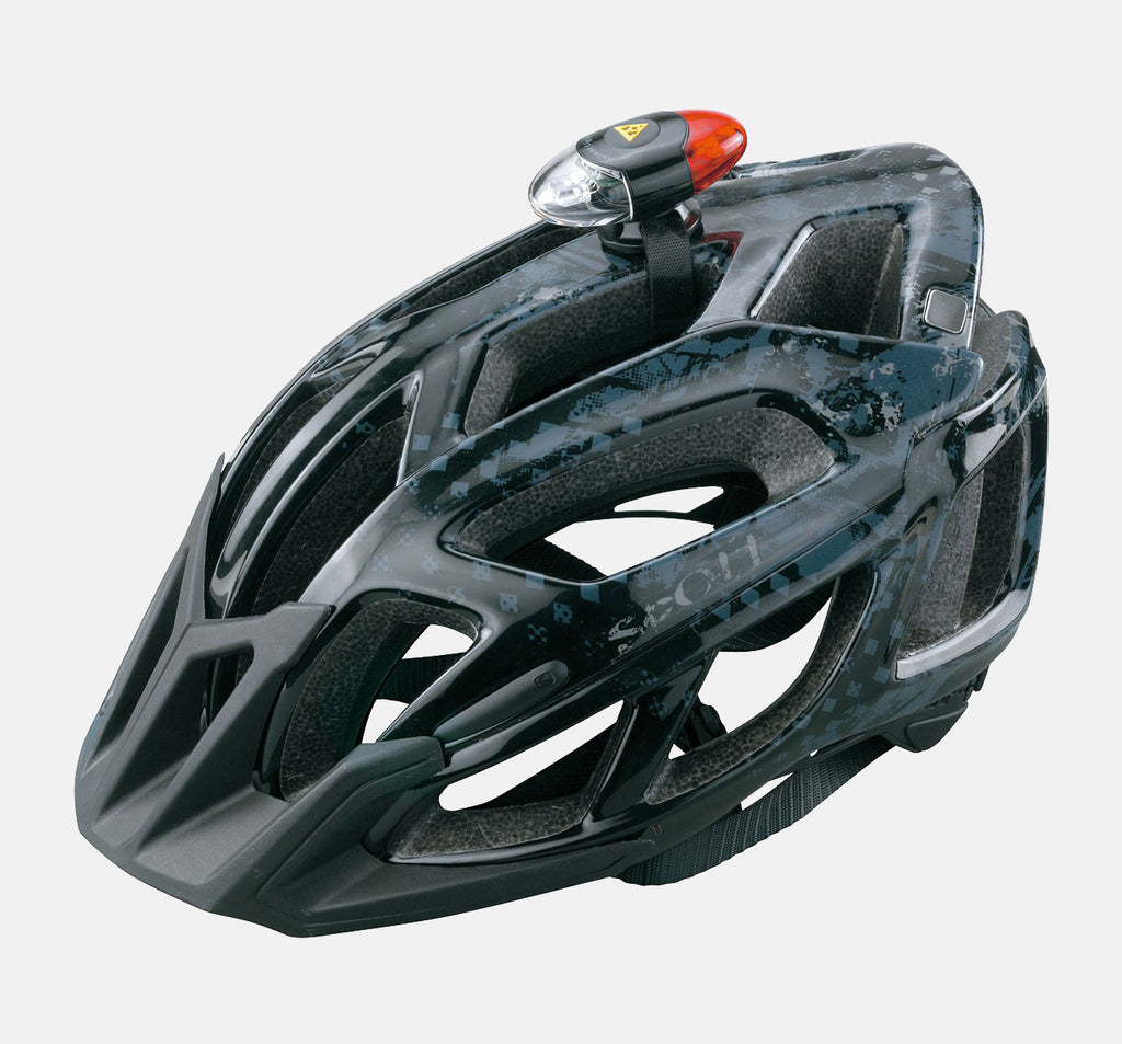 Topeak HeadLux Mounted On A Helmet