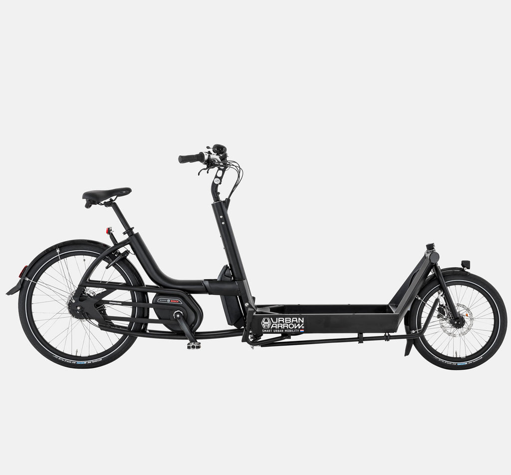 URBAN ARROW CARGO BIKE FLATBED IN BLACK