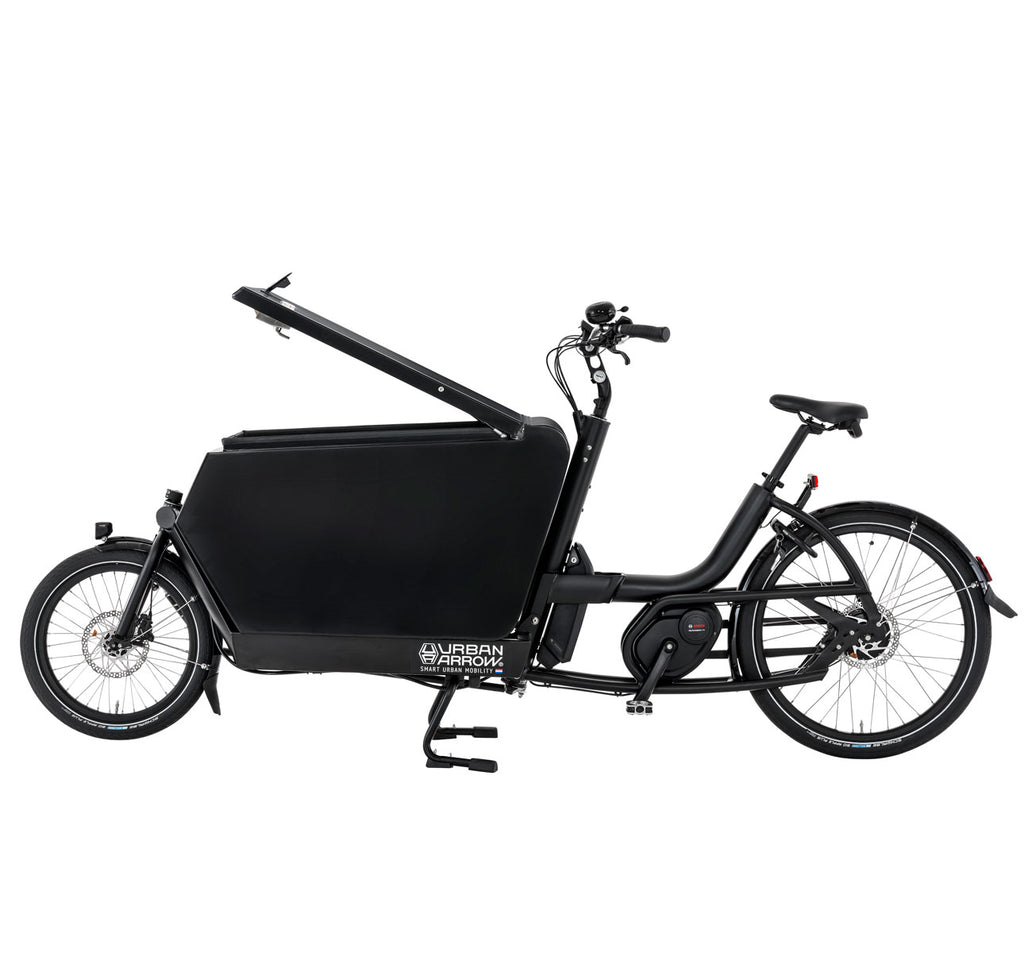 URBAN ARROW CARGO BIKE FLATBED WITH ALU BOX IN BLACK