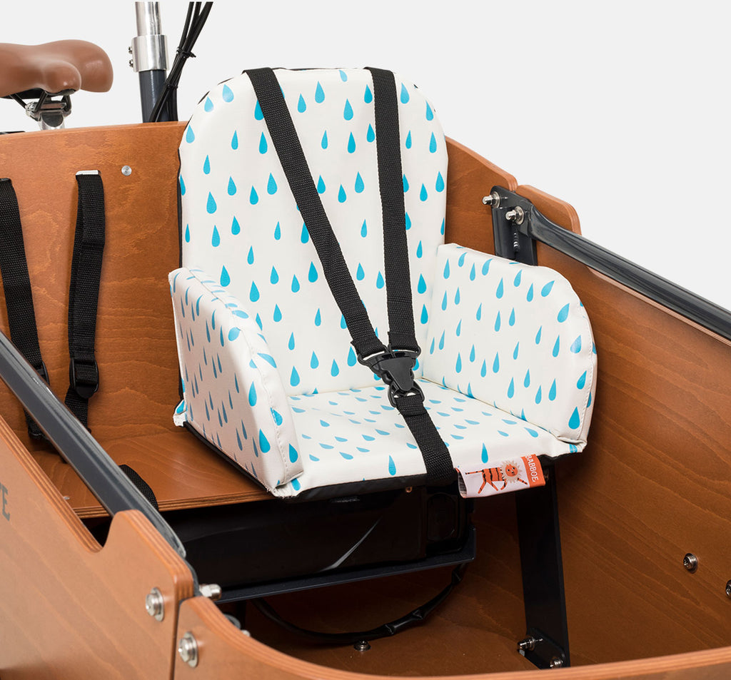 Babboe Comfy Child Seat - White with Blue Crocodile Tear Drops