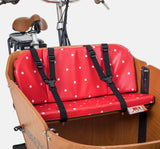 Babboe Cargo Bike Seat Cushion On Bench - Red With Dots