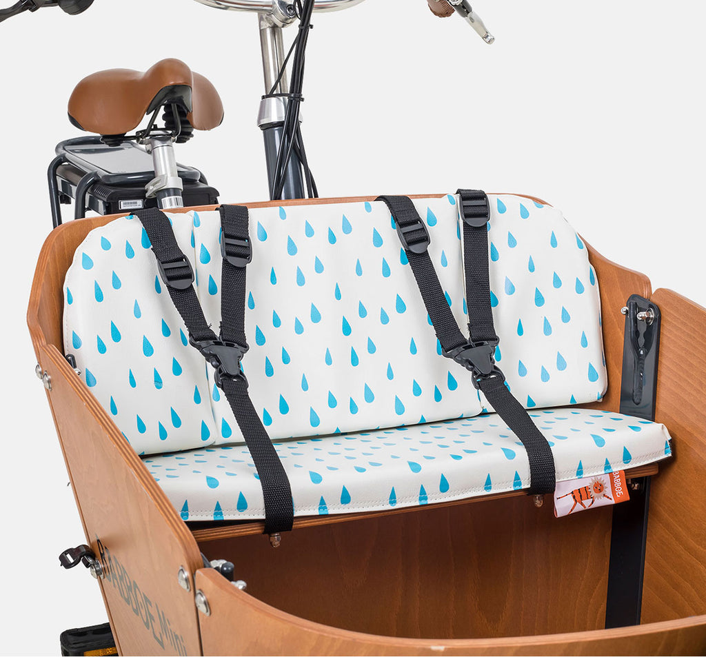 Babboe Cargo Bike Seat Cushion On Bench - White With Drops