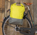 Racktime Liva Roll-Top Colour Block Bike Pannier Lime Green and Grey Displayed Attached to Bike Rack