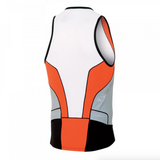 Pearl Izumi Elite IN R COOL Tri Singlet - Mens - White with Cherry Tomato