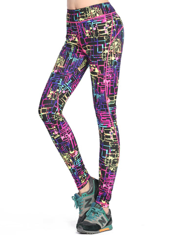 Running Tights/Yoga Pants - Wild Geo Splash