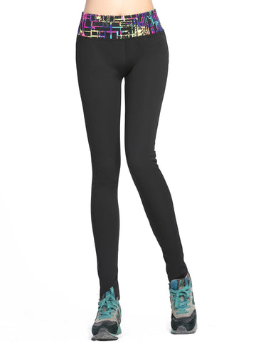 Running Tights/Yoga Pants - Black w Wild Geo Splash Waist