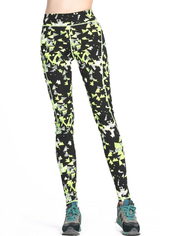 Running Tights/Yoga Pants - Hyper Green and Black