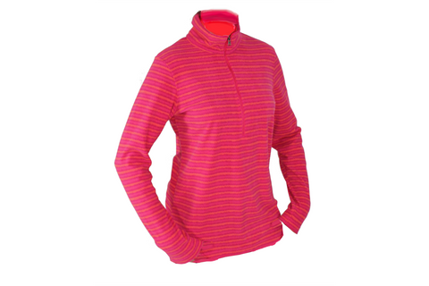 Columbia Sports Womens Half Zip Light Fleece Pullover - Pink Stripes - Lg Only