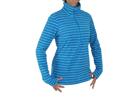 Columbia Sports Womens Half Zip Light Fleece Pullover - Blue Stripes - Large Only