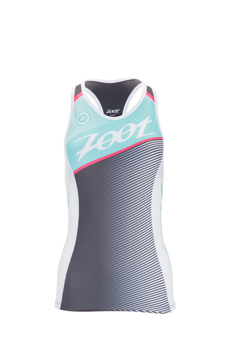 Zoot Women's Tri Team Racerback Top - Aquamarine and Passion Fruit - Sm Only