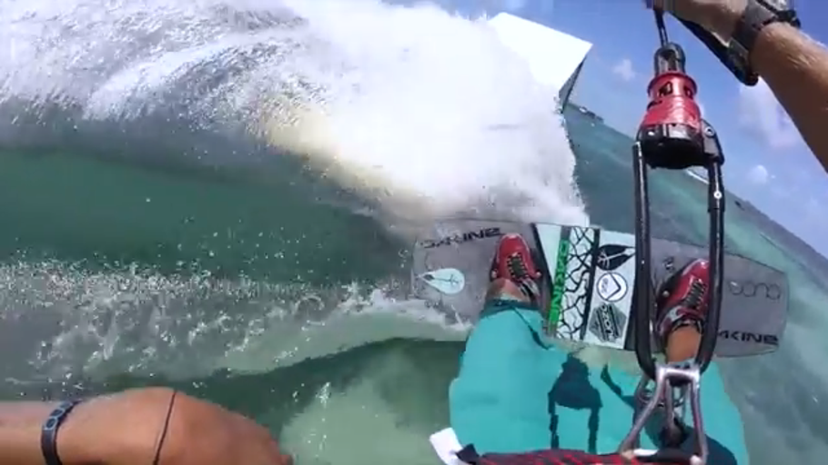 Pro kiteboarding and vlogger Jake Kelsick Uses The Grill Mount to shoot POV Kitesurfing