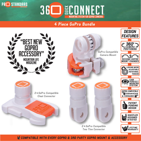 360 Quick Connect 4 Piece Bundle For GoPro Cameras - The Best New GoPro Accessory