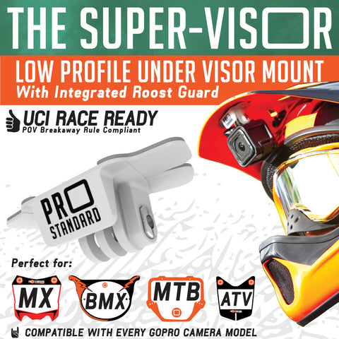 The Pro Standard Super-Visor Low Profile Under Visor GoPro Helmet Mount