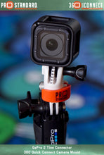 360 Quick Connect 2 Tine GoPro Connector and 360 Quick Connect Camera Mount on a GoPro 3-Way and GoPro Hero 5 Session