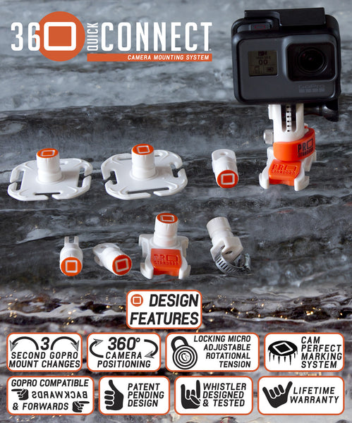 9 Piece 360 Quick Connect GoPro Mounting System Bundle. Change your GoPro Hero 5 Black, GoPro Hero 5 Session or any GoPro camera between mounts in seconds