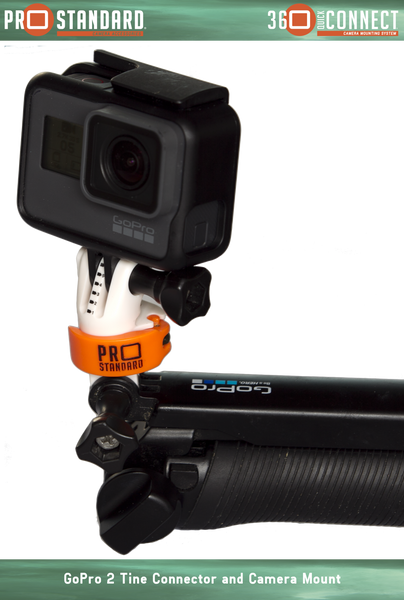 360 Quick Connect 2 Tine GoPro Connector and 360 Quick Connect Camera Mount on a GoPro 3-Way with a GoPro hero 5 Black