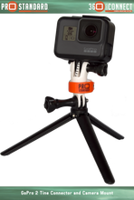 360 Quick Connect Camera Mount for GoPro Cameras and a 360 Quick Connect 2 Tine GoPro Connector on a GoPro tripod
