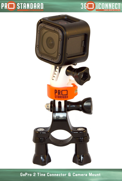 360 Quick Connect GoPro 2 Tine Connector with 360 Quick Connect Camera Mount with Hero 5 Black on a GoPro Handlebar Mount