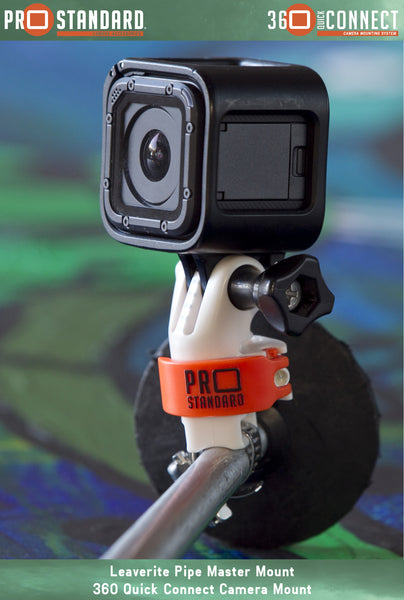 360 Quick Connect Leaverite Pipe Master Mount and 360 Quick Connect Camera Mount for GoPro Cameras shown with a GoPro Hero 5 Session on a ski pole