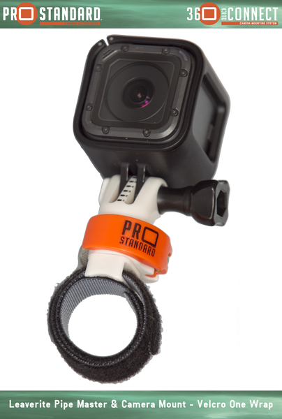 360 Quick Connect Leaverite Pipe Master Mount for GoProCameras shown with Velcro One Wrap and GoPro Hero 5 Session