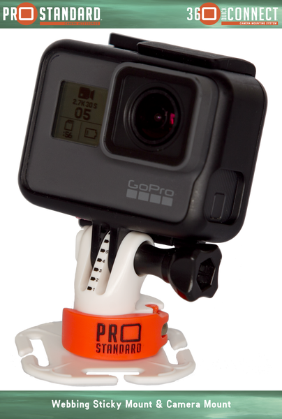360 Quick Connect Leaverite Webbing Sticky Mount for GoPro Cameras shown with 360 Quick Connect Camera Mount and a GoPro Hero 5 Black