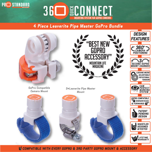 360 Quick Connect Leaverite Pipe Master 4 Piece Bundle-GoPro Compatible