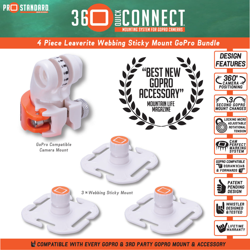 4 Piece 360 Quick Connect Leaverite Webbing Sticky Mount Bundle