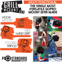 The Grill Mount is the only mount you really need for your GoPro. It's a GoPro handgrip, GoPro mouth mount, GoPro wall mount, GoPro Tripod, GoPro Hook Mount. The Grill Mount is the GoPro Everything Mount