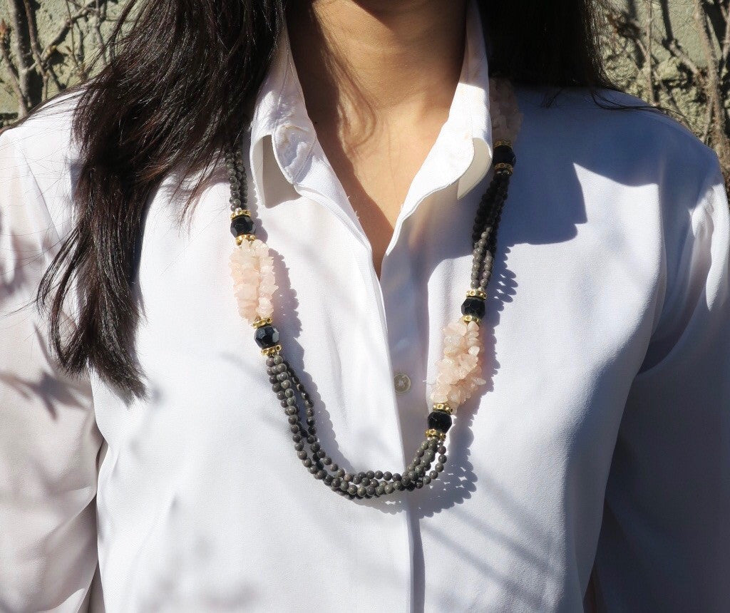~pop.up.shop~ zanzibar rose quartz + onyx necklace
