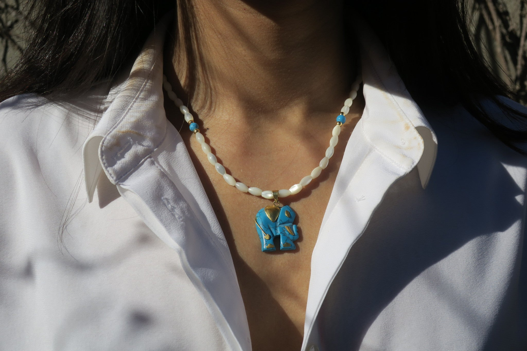~pop.up.shop~ zanzibar turquoise and pearl elephant necklace