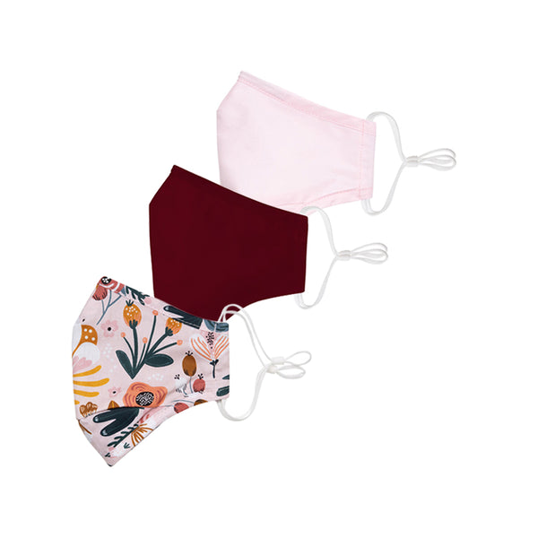 Poppy/Maroon/Blush Face Mask 3 Pack + 6 Filters