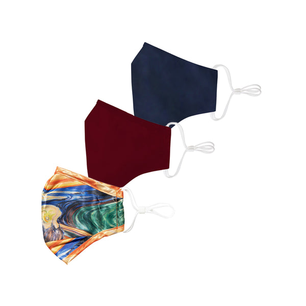Scream Satin/Maroon/Navy Blue Face Mask 3 Pack + 6 Filters