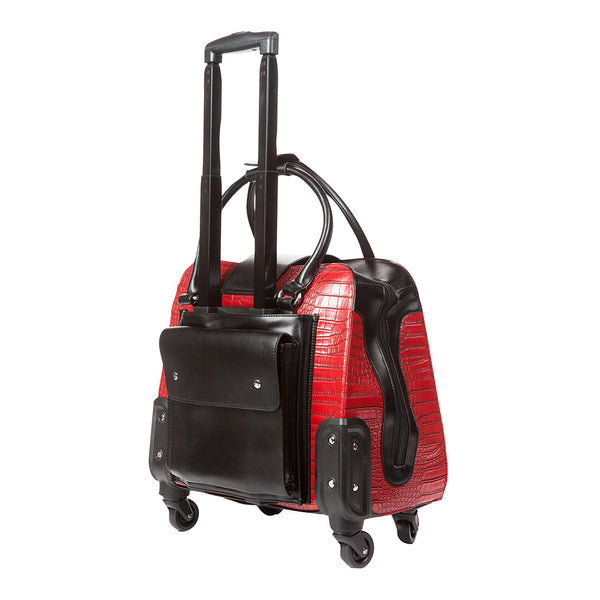 Harlequin Red and Black Crocodile Rolling Trolley Bag