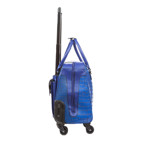 Harlequin Blue Crocodile Rolling Carry-On Tote Bag