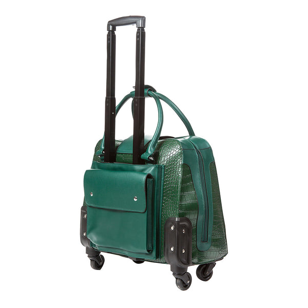 Harlequin Green Crocodile Rolling Carry-On Tote Bag