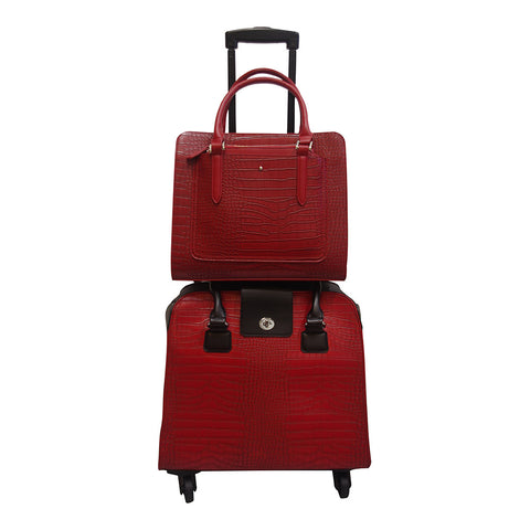 Harlequin Red Croc Coordinating Luggage Set