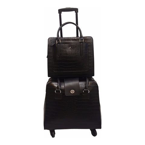 Harlequin Black Croc Coordinating Luggage Set
