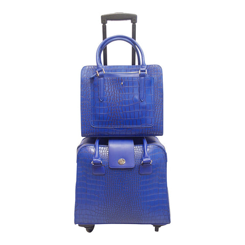 Harlequin Blue Croc Coordinating Luggage Set