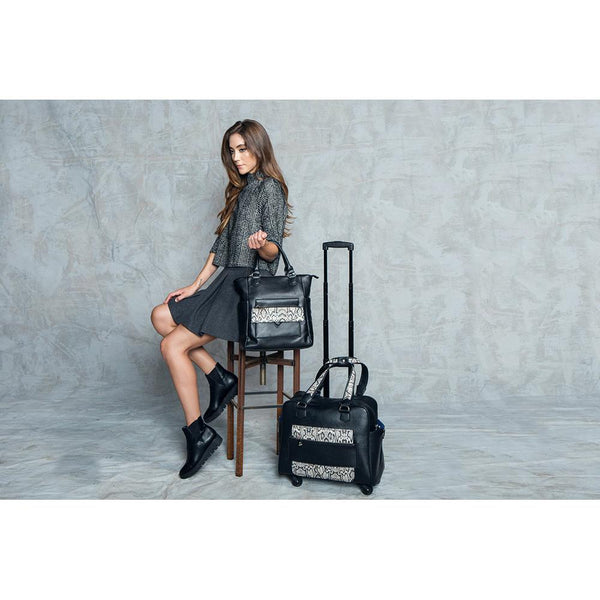 Caiman Black & White Reptile Rolling Carry-On Bag