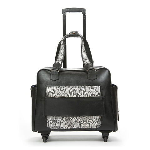 Caiman Black & White Reptile Rolling Trolley Bag
