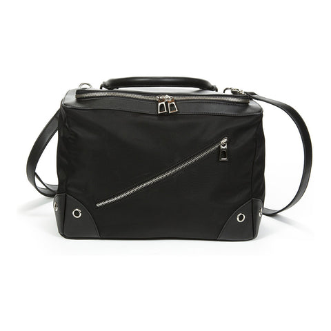 Hira Black Nylon Tech Crossbody Tote
