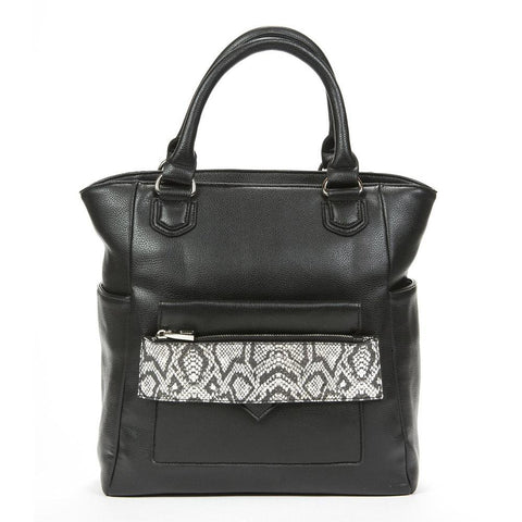 Caiman Black & White Reptile Tech Crossbody Tote Bag