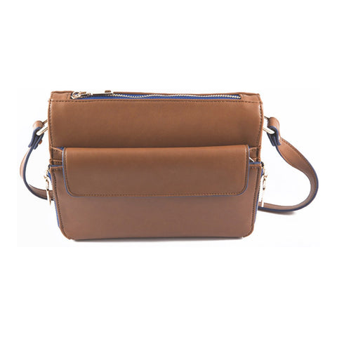 Camellia Caramel Brown Crossbody Bag