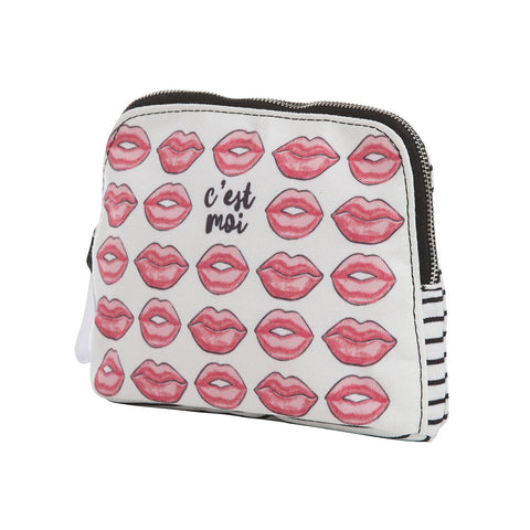 Canvas Lips Zipper Pouch
