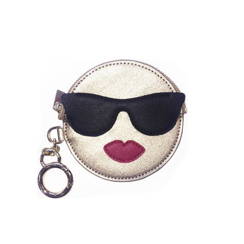 Emoji Cool Girl Coin Purse Keychain