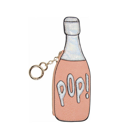 Pop Champagne Bottle Coin Purse Keychain
